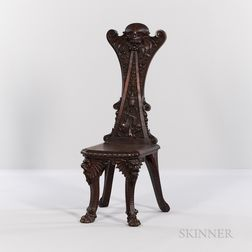 Renaissance Revival Carved Walnut Hall Chair