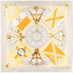 """Framed Hermes """"Sextants"""" Gray and Yellow Silk Scarf"""