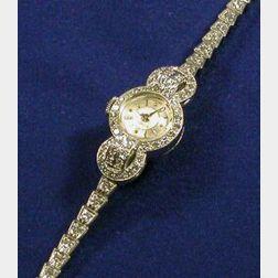 Lady's Platinum and Diamond Wristwatch