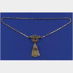 Victorian 14kt Gold and Gem-set Pendant Necklace
