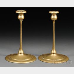 Pair of Arts & Crafts Brass Candlesticks