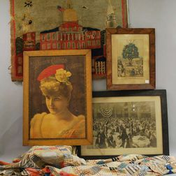 Three Framed Works, a Hooked Rug, and a Pieced Cotton Quilt Top