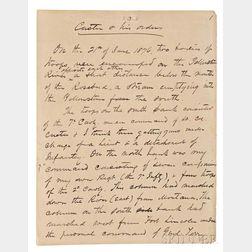 Gibbon, John (1827-1896) Unpublished Autograph Manuscript, Custer & his Orders