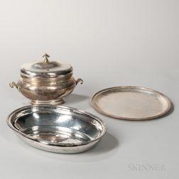 Three Pieces of Italian .800 Silver Tableware