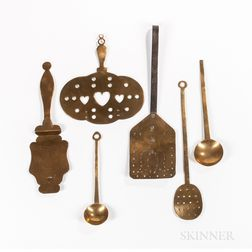 Six Brass Kitchen Utensils