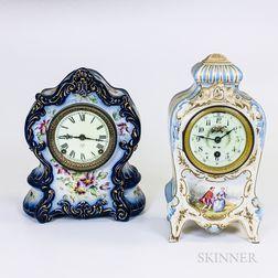 Two Royal Bonn Ceramic Mantel Clocks