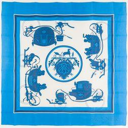 "Framed Hermes ""Ex Libris"" Blue Silk Scarf"