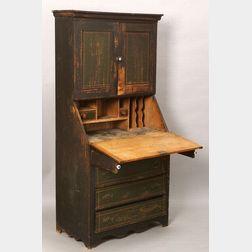 Painted Birch Desk-Bookcase