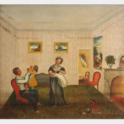 American School, 19th Century Three Fraternal Organization Painted Window Shades: Interior Scene with a Happy Family, American Steam B