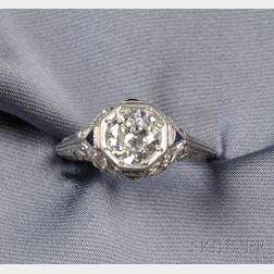 Art Deco Platinum and Diamond Solitaire