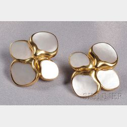 "18kt Gold and Mother-of pearl ""Hydrangea"" Earclips, Angela Cummings"