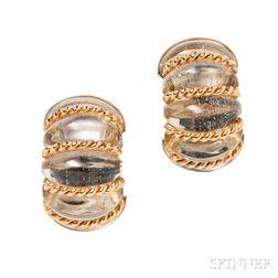 "18kt Gold and Rock Crystal ""Shrimp"" Earclips, Seaman Schepps"