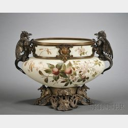 French Renaissance Revival Opaline Glass and Metal Mounted Bowl