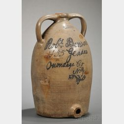 Large Cobalt-inscribed Geddes, New York, Stoneware Cooler