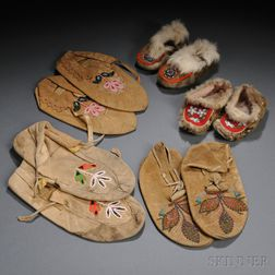 Five Pairs of Northwest Moccasins