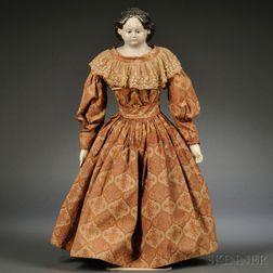 Large Papier-mache Shoulder Head Doll