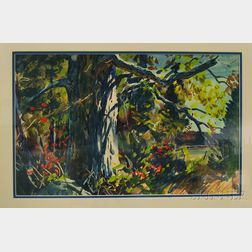 MacIvor Reddie (American, 1864-1931)      The Old Oak, Autumn.
