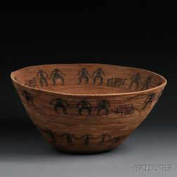 Large Yokuts Coiled Basketry Bowl