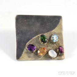 Silver and Semiprecious Gemstone Pendant/Brooch