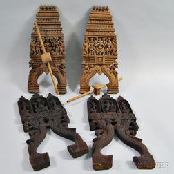 Four Carved Wood Furniture Elements