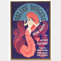 Large Framed Folies Bergeres Poster for J'Aime a la Folie with Helene Martini