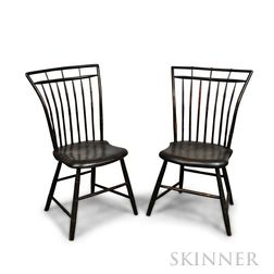 Pair of Black-painted Bamboo-turned Windsor Side Chairs
