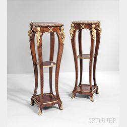 Pair of Louis XV-style Gilt-bronze-mounted Pedestals