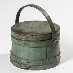 Blue/Green-painted Lidded Pail