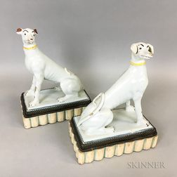 Pair of French Tin-glazed Ceramic Racing Hounds