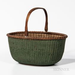Green-painted Cloth-lined Nantucket Basket