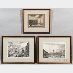 Three Framed Prints of Venice:      Continental School, 18th Century, Prospectus Palatii Ducalis, Supra Plateum