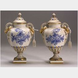 Pair of Limoges Porcelain Vases and Covers