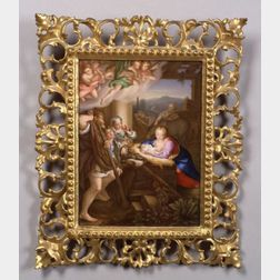 German Painted Porcelain Plaque of the Adoration in the Manger