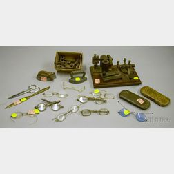 Eight Pairs of Spectacles, a Jerome Redding & Co. Brass Telegraph Set, and   Collectibles