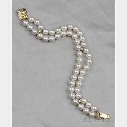 Cultured Pearl and Diamond Bracelet, Mikimoto