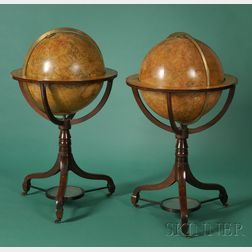 A Pair of 20-inch Library Globes in Hepplewhite Stands by J. & W. Cary