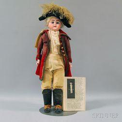 Bisque Shoulder Head Doll as George Washington