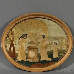 """Embroidered and Painted Silk Mourning Picture: """"Sacred to the Memory of the   Illustrious Washington,"""""""