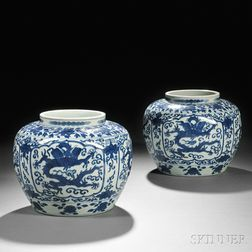 Pair of Blue and White Jars
