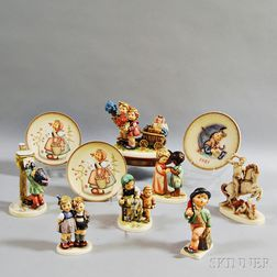 Ten Ceramic Hummel Figures