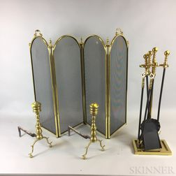 Brass and Mesh Firescreen, a Pair of Ring-turned Andirons, and a Set of Fire Tools and Stand.     Estimate $200-250