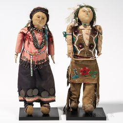 Pair of Great Lakes Cloth Dolls