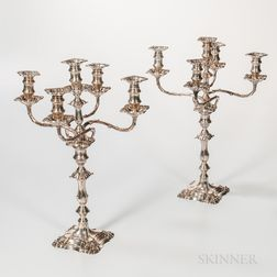 Pair of George V Sterling Silver Five-light Convertible Candelabra