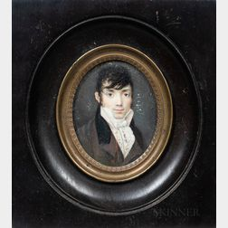 American School, 19th Century      Miniature Portrait of a Man in a Brown Jacket