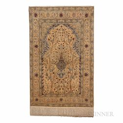 Silk Hereke Prayer Rug