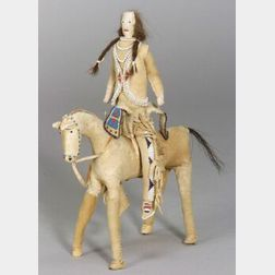 Plains Beaded Hide Horse and Rider