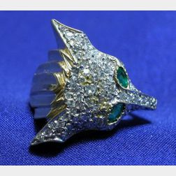 14kt Gold, Diamond, and Emerald Ring, Erte for Circle Fine Arts