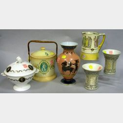 Six Classical Revival Decorated Ceramic Table Articles