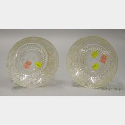 Pair of Sandwich Colorless Pressed Lacy Pattern Glass Bowls