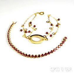 Two Gold Gem-set Bracelets